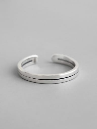 S925 Sterling Silver retro simple double layer line free size rings