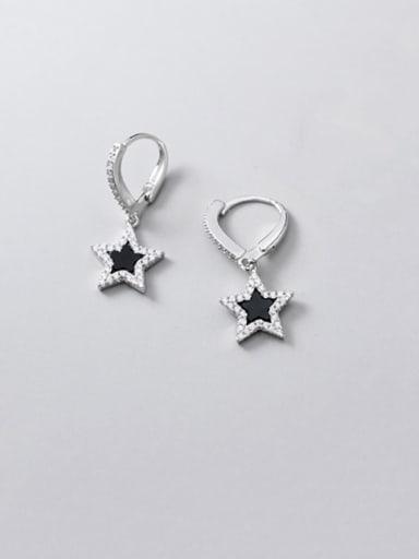 925 Sterling Silver Rhinestone  Star Dainty Huggie Earring