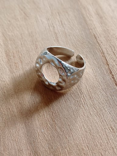 925 Sterling Silver Hollow Round Vintage Free Size Ring