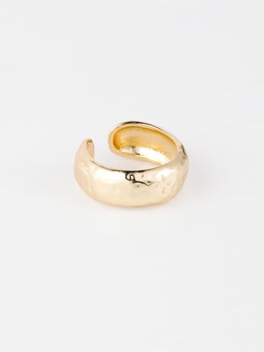 A concave convex section Brass Smooth  Irregular Minimalist Free Size Ring