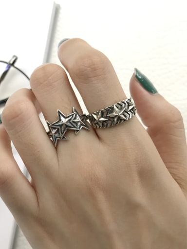 925 Sterling Silver Star Vintage Signet Ring