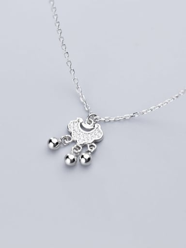 925 Sterling Silver Cubic Zirconia  Simple fashion diamond long life lock  Necklace