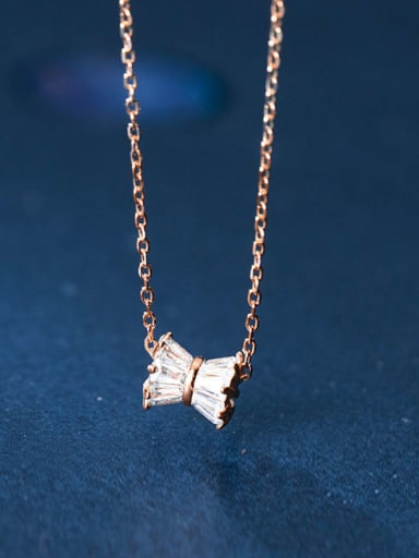 925 Sterling Silver Cubic Zirconia  Bowknot Cute Pendant  Necklace