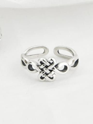 Vintage Sterling Silver With Platinum Plated Ethnic Irregular Free Size Rings