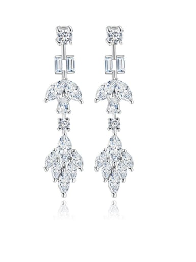 Copper Cubic Zirconia Geometric Dainty Chandelier Earring
