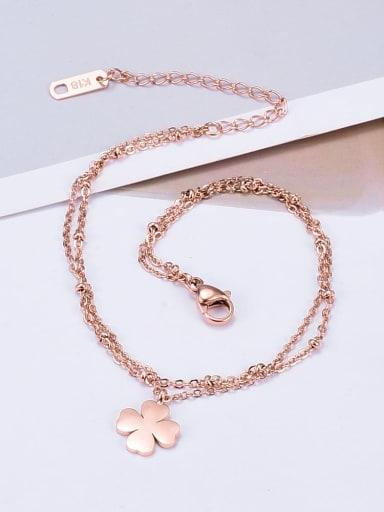 Titanium Smooth Flower Minimalist Multi-layer Anklet