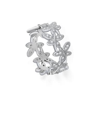 Copper Cubic Zirconia Flower Dainty Free Size Ring