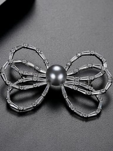 Platinum t15h14 Copper Cubic Zirconia White Butterfly Cute Brooch