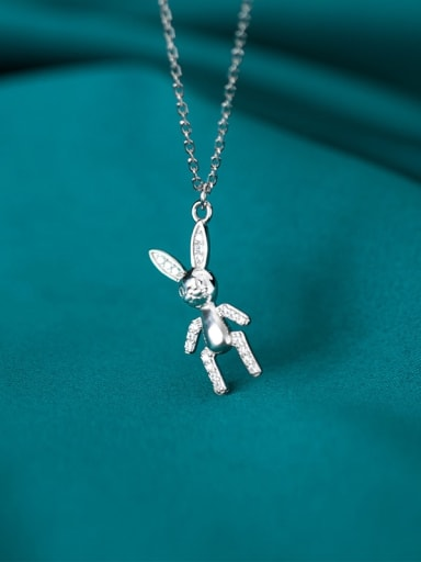 925 Sterling Silver Cute doll rabbit Pendant Necklace