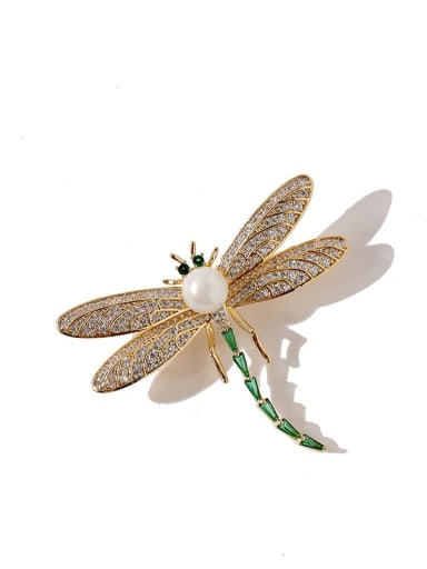 gold Copper Cubic Zirconia White Dragonfly Luxury Brooches