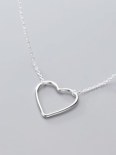 925 Sterling Silver Simple Fashion Hollow Heart Pendant Necklace