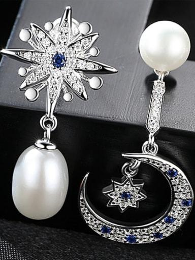 White 1F07 925 Sterling Silver Fashion Asymmetric Snowflake Moon Freshwater Pearl Drop Earring