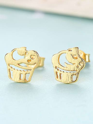 gold 17H10 925 Sterling Silver iregular creative ice cream trend study Earring
