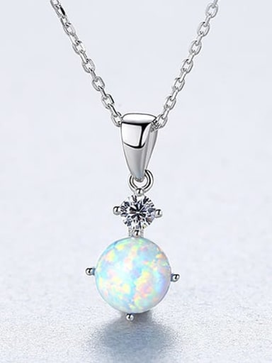 White 20F09 925 Sterling Silver Opal blue simple Square Pendant Necklace
