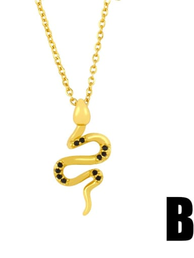 B Copper Cubic Zirconia Snake Ethnic Necklace