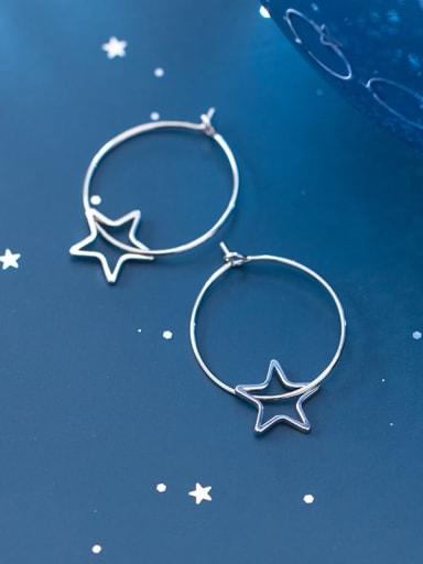 925 Sterling Silver Minimalist Hollow Pentagram Hoop Earring