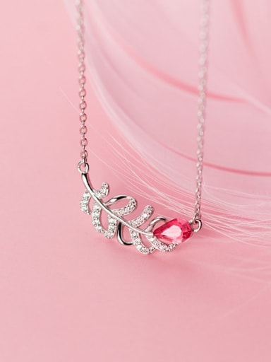 925 Sterling Silver Pink Cubic Zirconia Feather pendant Necklace