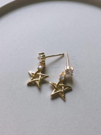 Star Stud in C612 925 Sterling Silver Cubic Zirconia White Heart Cute Stud Earring
