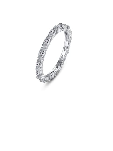 925 Sterling Silver Cubic Zirconia White Geometric Minimalist Band Ring