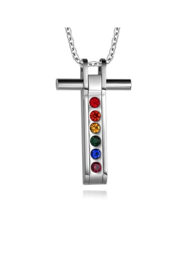 Titanium Rhinestone Cross Minimalist Regligious Necklace