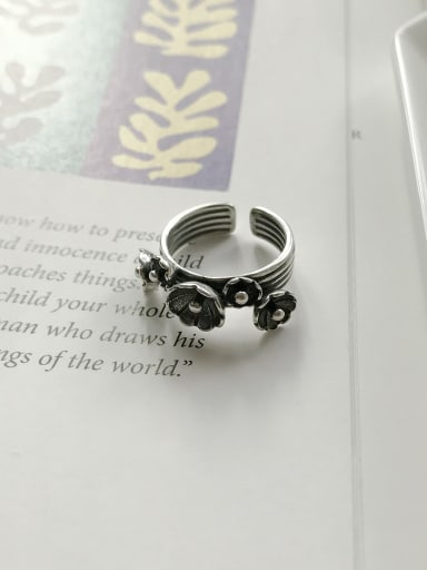925 Sterling Silver Vintage Flower  Free Size Ring