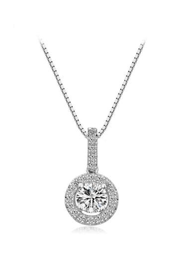 Copper Cubic Zirconia Minimalist Round pendant Necklace