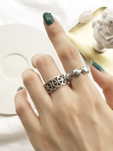 925 Sterling Silver Round Artisan Geeky Ring