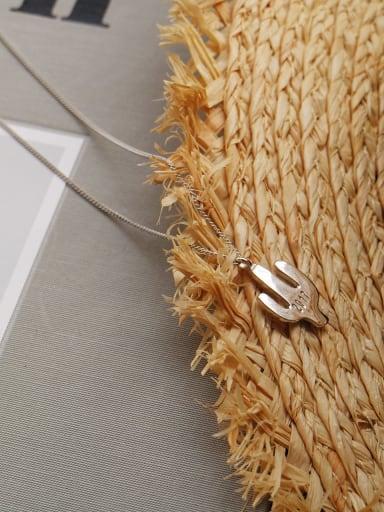 925 Sterling Silver minimalist Irish cactus Pendant Necklace