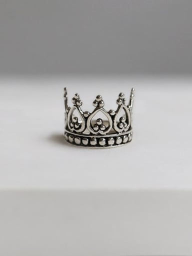 925 Sterling Silver Crown Vintage Free Size Band Ring