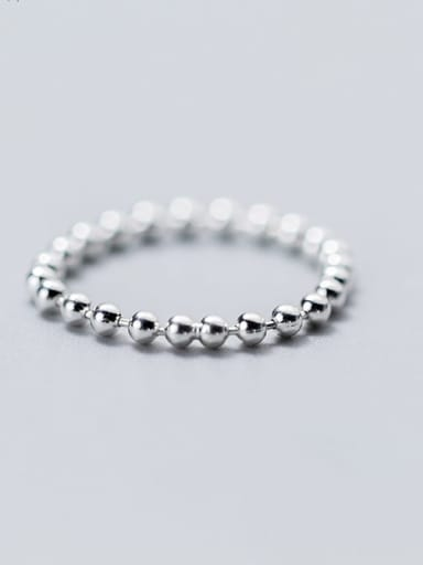 925 Sterling Silver Minimalist Round  Bead Free Size Ring