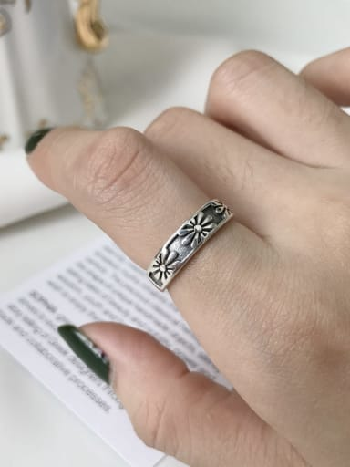 925 Sterling Silver Flower Vintage Midi Ring