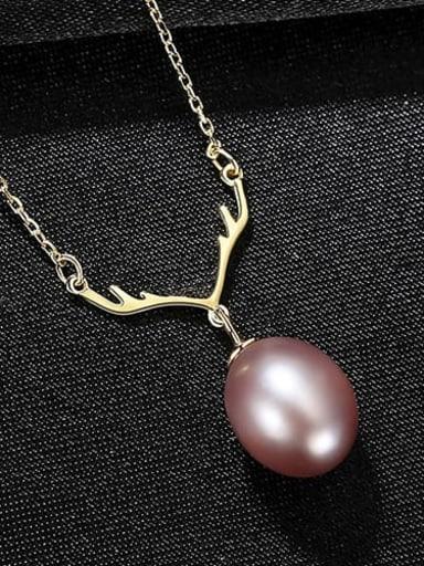 Purple 7i12 925 Sterling Silver Freshwater Pearl White Irregular Minimalist Lariat Necklace