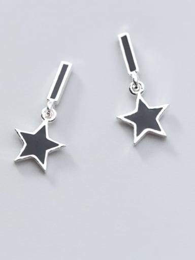 925 Sterling Silver Black Enamel Star Minimalist Stud Earring