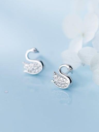 925 Sterling Silver Cubic Zirconia Swan Dainty Earring