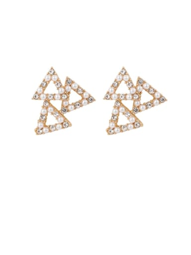 A triangle Brass Imitation Pearl White Geometric Cute Stud Earring