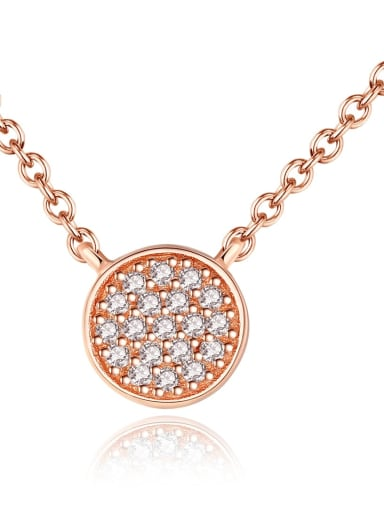 925 sterling silver simple fashion cubic zirconia Round Pendant Necklace