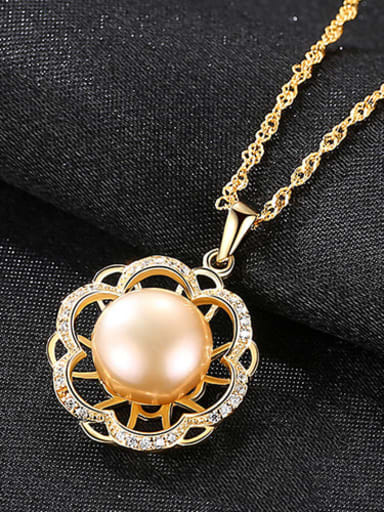 Pink 5G10 925 Sterling Silver Freshwater Pearl Hollow zircon flower pendant  Necklace