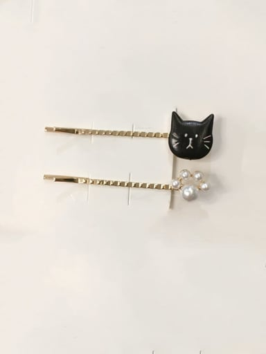 5.5cm-black Ears Zinc Alloy Irregular Minimalist Barrettes & Clips