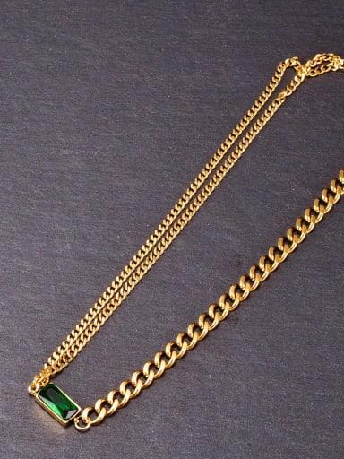 Titanium Glass Stone Geometric Vintage Necklace