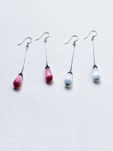 925 Sterling Silver Cats Eye Water Drop Minimalist Hook Earring
