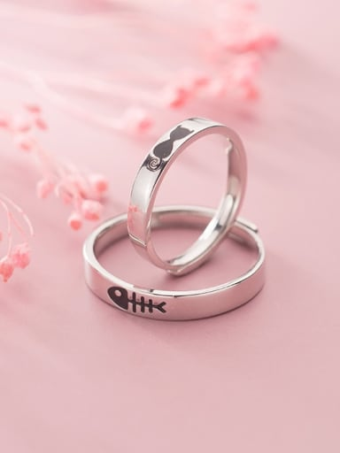 925 Sterling Silver Fish Minimalist Couple Ring