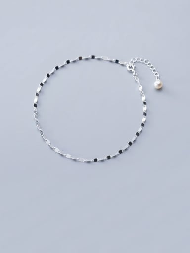 925 Sterling Silver Minimalist  Imitation Pearl Chain Anklet