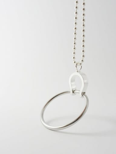 925 Sterling Silver Hollow Round Minimalist Beaded Necklace