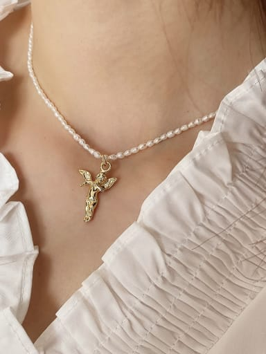 925 Sterling Silver Angel Pearl Necklace