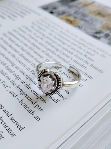 925 Sterling Silver Cubic Zirconia Heart Vintage  Free Size Midi Ring