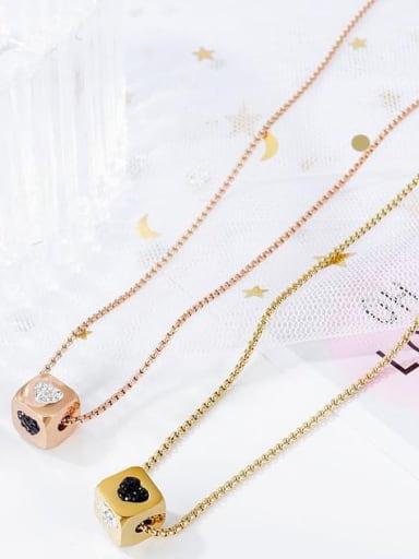 Titanium Enamel Heart Minimalist geometry pendant Necklace