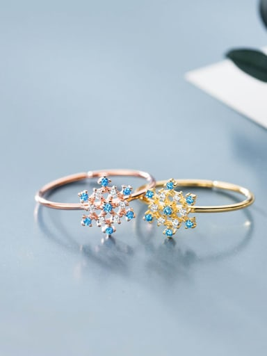 925 Sterling Silver Cubic Zirconia Multi Color Flower Minimalist Band Ring