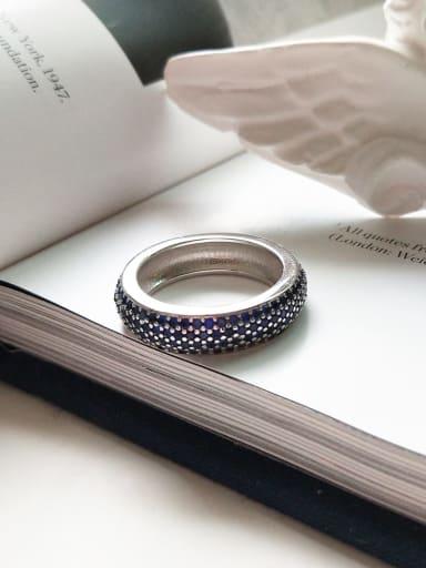 925 Sterling Silver Rhinestone Blue Round Vintage Band Ring