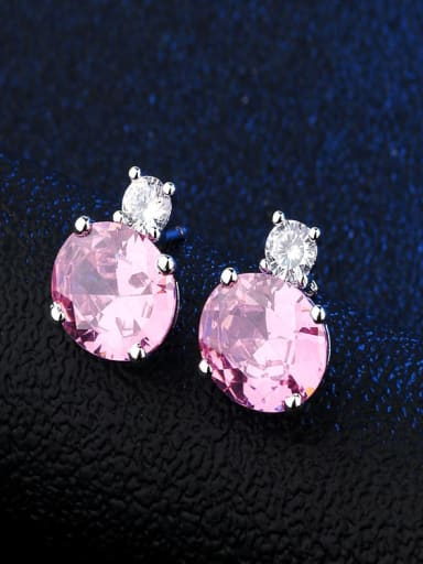 Platinum Pink Copper Glass Stone Round Dainty Stud Earring