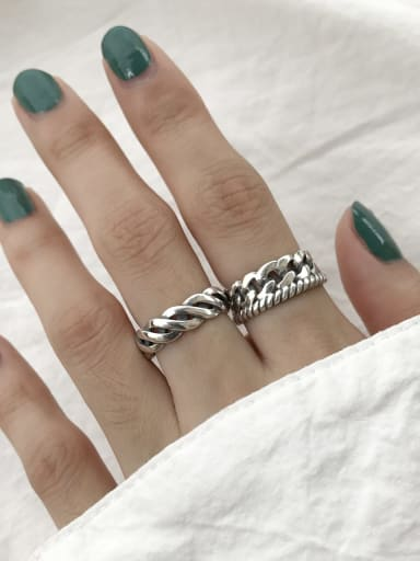 925 Sterling Silver Twist weave free size Ring
